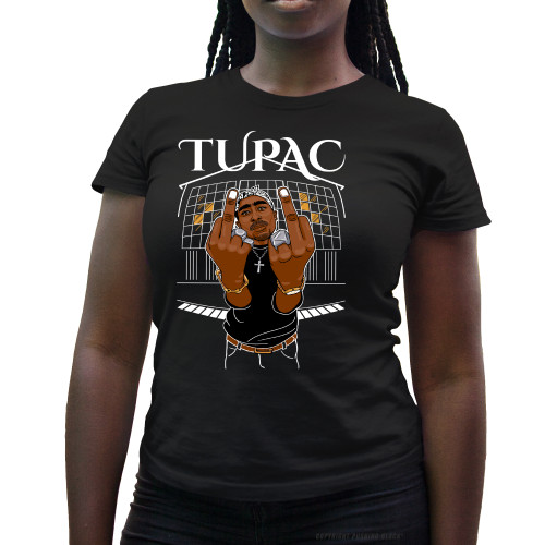 Tupac Middle Finger Up Ladies T-Shirt