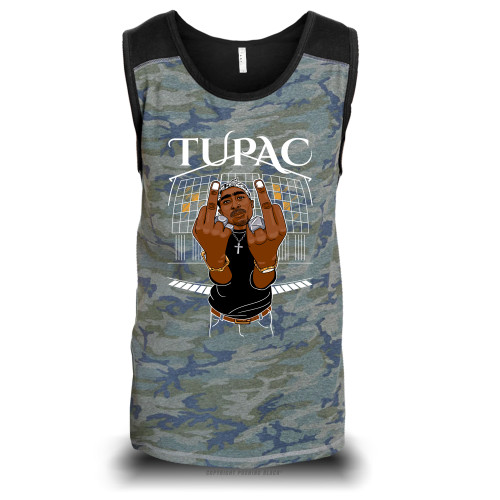 Tupac Middle Finger Up Unisex Raglan Tank Top