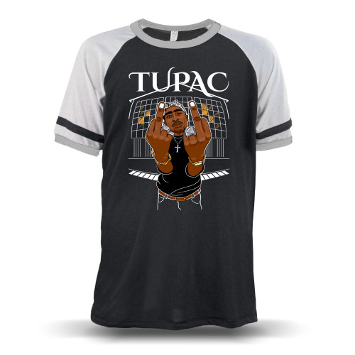 Tupac Middle Finger Up Unisex Raglan T-Shirt