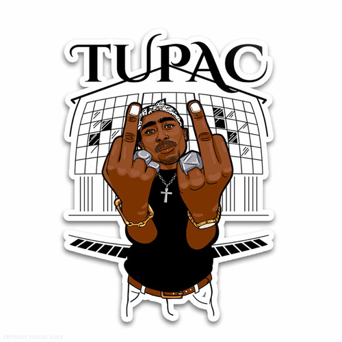 Tupac Middle Finger Up Weatherproof Vinyl Decal