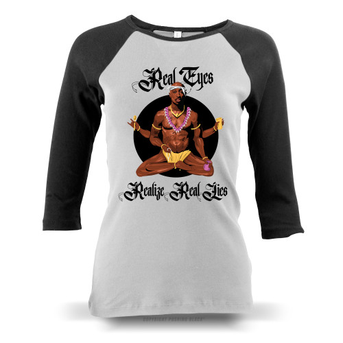 Tupac - Real Eyes Realize Real Lies Ladies Raglan Long Sleeve