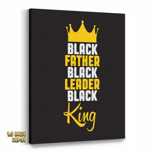 Black Father, Black Leader, Black King Premium Wall Canvas