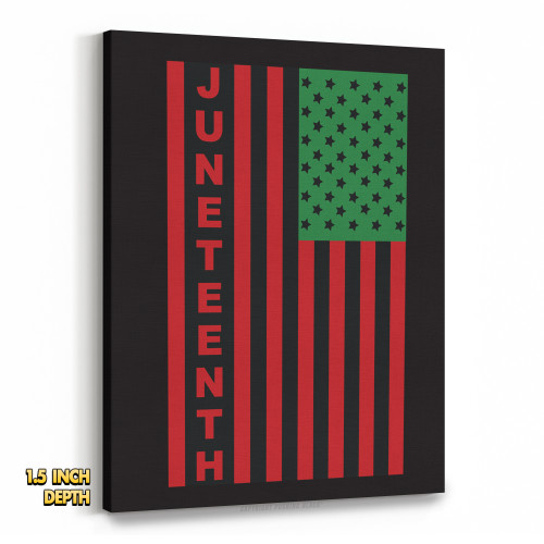 Juneteenh Pan-African US Flag Premium Wall Canvas