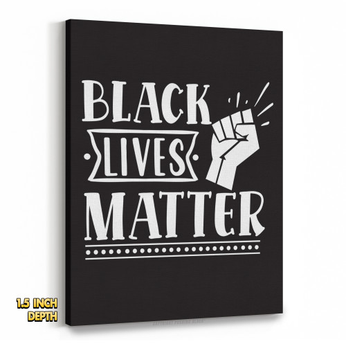 Black Lives Matter Fist Up Premium Wall Canvas