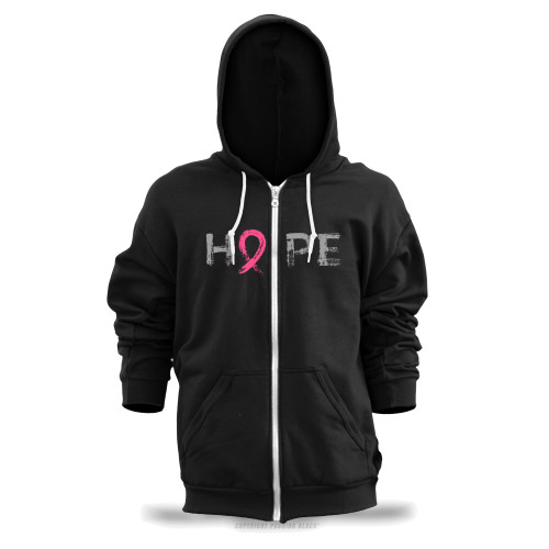 """Hope"" - Breast Cancer Awareness  Unisex Zipper Hoodie"