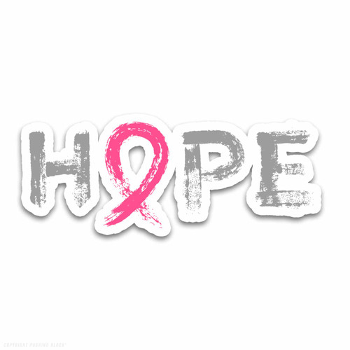 """Hope"" - Breast Cancer Awareness  Weatherproof Vinyl Decal"