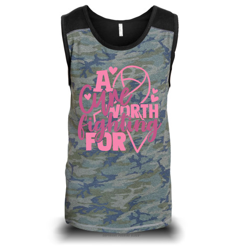 Breast Cancer Awareness - A Cure Worth Fighting For Unisex Raglan Tank Top