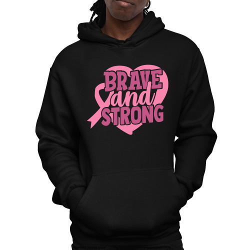 Breast Cancer Awareness - Brave and Strong Unisex Pullover Hoodie