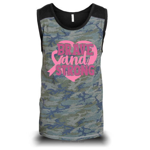 Breast Cancer Awareness - Brave and Strong Unisex Raglan Tank Top