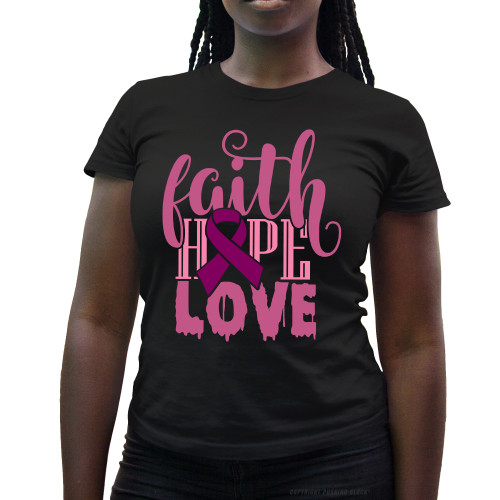 Breast Cancer Awareness - Faith Hope Love Ladies T-Shirt