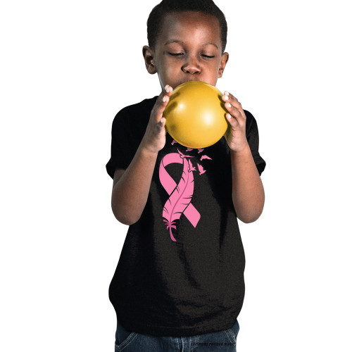 Breast Cancer Awareness - Ribbon and Feather Youth T-Shirt