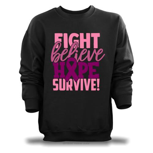 Breast Cancer Awareness - Fight Believe Hope Survive Unisex Sweatshirt