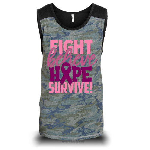Breast Cancer Awareness - Fight Believe Hope Survive Unisex Raglan Tank Top