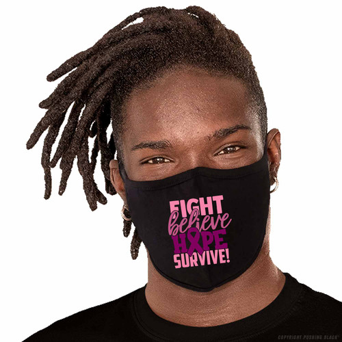 Breast Cancer Awareness - Fight Believe Hope Survive Washable Face Mask