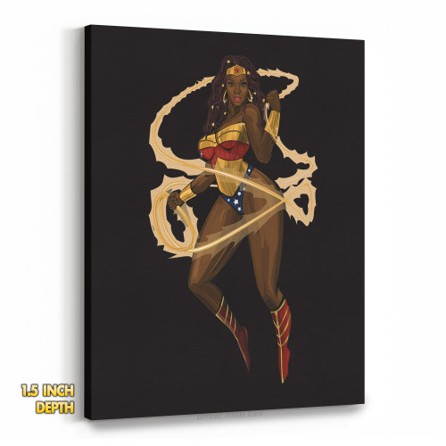 Black Woman of Wonder with Lasso of Truth Premium Wall Canvas