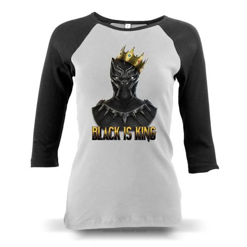 Black is King - Black Panther Ladies Raglan Long Sleeve