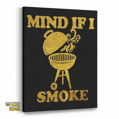 Mind If I Smoke - Golden Glitter Premium Wall Canvas