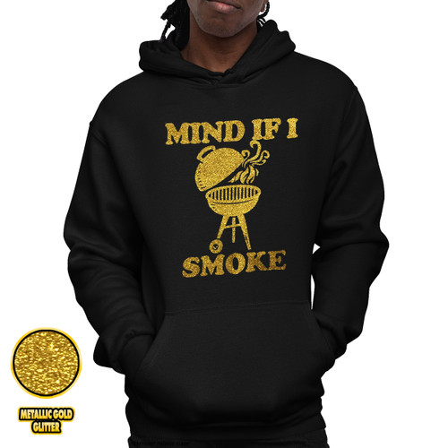 Mind If I Smoke - Golden Glitter Unisex Pullover Hoodie