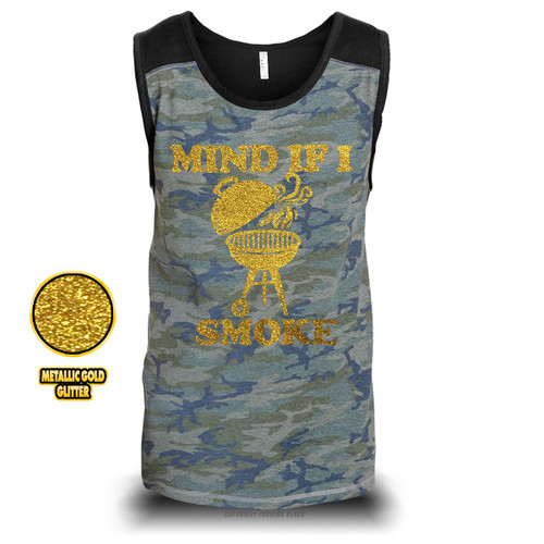 Mind If I Smoke - Golden Glitter Unisex Raglan Tank Top