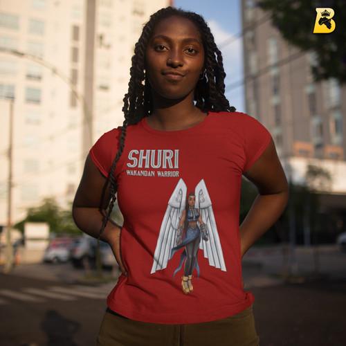 Shuri Wakandan Warrior, Ladies Superheroine Crew T-Shirt