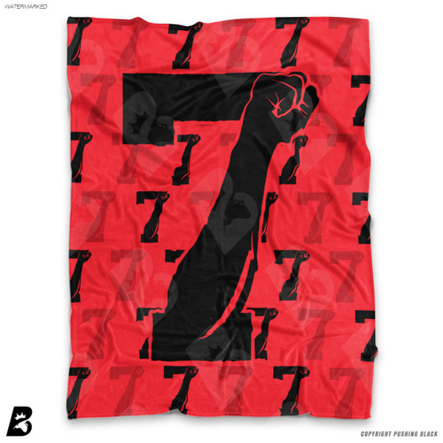 ''Colin Kaepernick with Black 7 Fists' Soft Fleece Blanket Throw