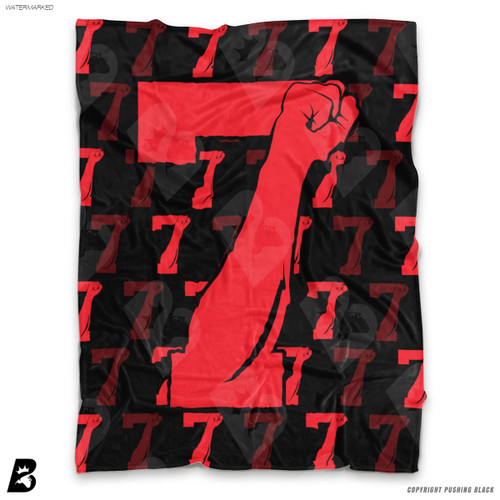 ''Colin Kaepernick with Red 7 Fists' Soft Fleece Blanket Throw