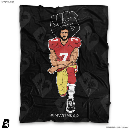 ''Colin Kaepernick Kneeling - #IMWITHKAP' Soft Fleece Blanket Throw