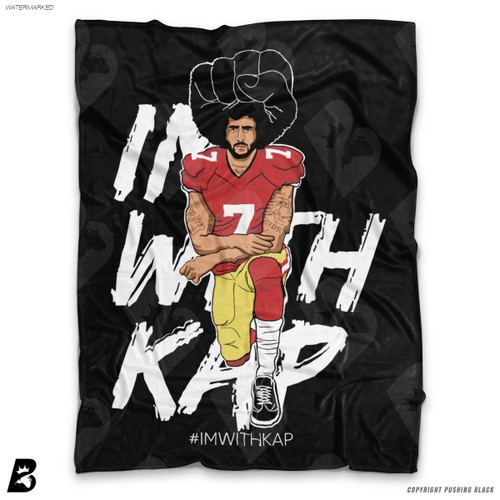 ''Colin Kaepernick Kneeling - IMWITHKAP Background' Soft Fleece Blanket Throw