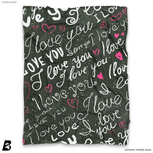 'Love Heart Repeat' Soft Fleece Blanket Throw