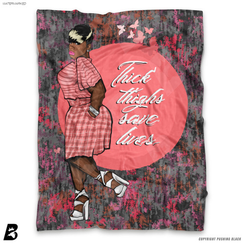 'Thick Thighs Save Lives with Pink and Grey Pattern' Soft Fleece Blanket Throw