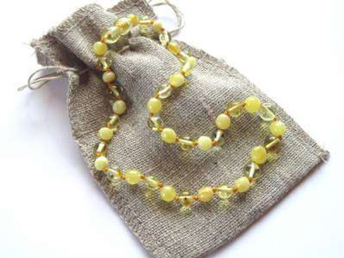 """Excellent quality lemon - butterscotch beads"" necklace"