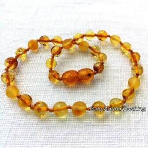 """Champagne"" amber baby necklace"