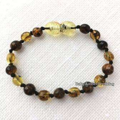 """Light green amber olive"" bracelet/anklet"