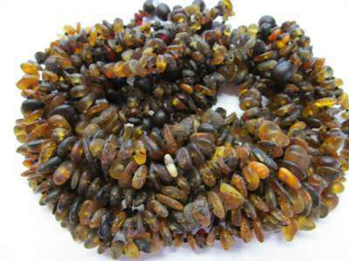 ''Raw green amber'' 10 amber necklaces for babies