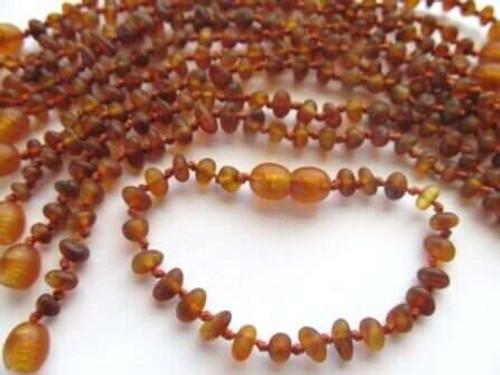 ''Cognac'' 10 raw amber bracelet/anklet for babies