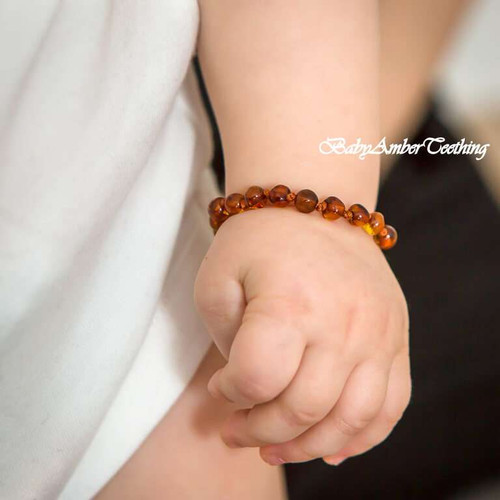 """Baby bracelet """"amber cognac"""""""
