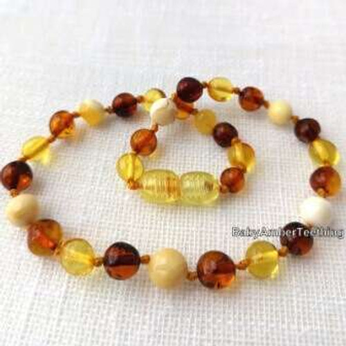 """Baby boy sweet multicolored"" amber necklace"