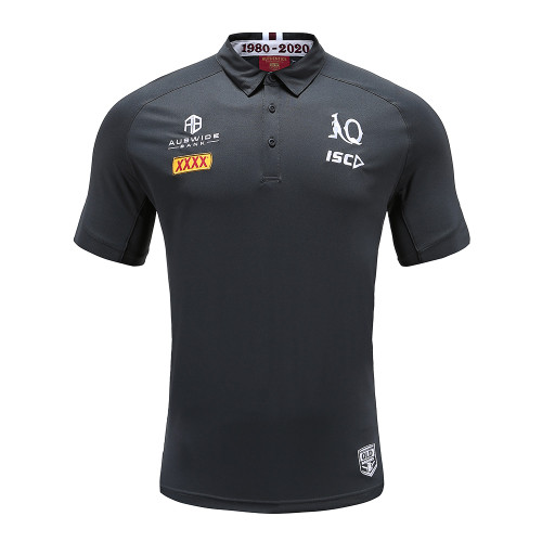 Queensland Maroons 2020 MENS PERFORMANCE POLO - BLACK