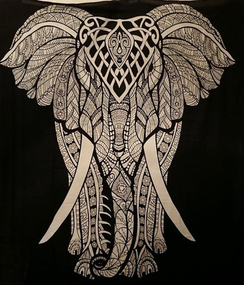 Black and White Elephant Wall Hanging/Bed Throw