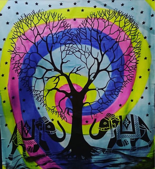 Blue, Yellow, Pink Swirl Elephant Heart Tree Printed Cotton Wall Hanging/Bedspread/Throw