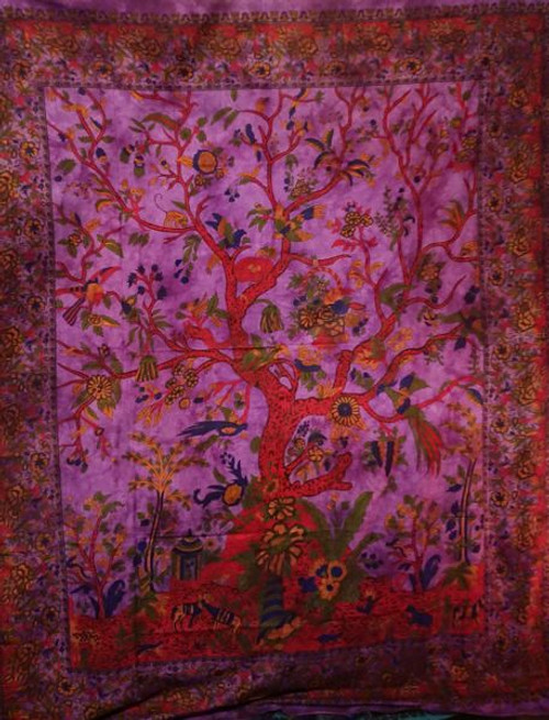 Purple Tree of Life Printed Cotton Wall Hanging/Bedspread/Throw