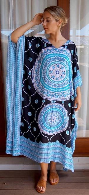 Tunisia Black/Aqua Long Kaftan