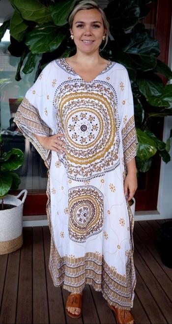 Tunisia White/Brown Long Kaftan