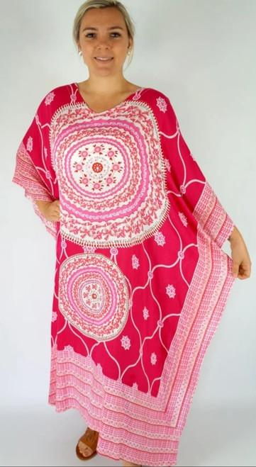 Tunisia Pink/White Long Kaftan