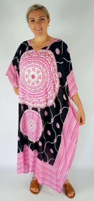 Tunisia Black/Pink Long Kaftan