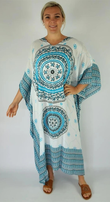 Tunisia White/Blue Long Kaftan