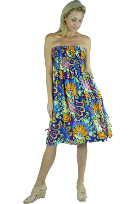 Sundrenched purple peacock smock dress