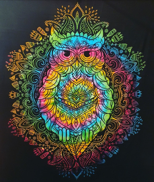 Tie-dyed Owl Printed Cotton Wall Hanging/Bedspread/Throw
