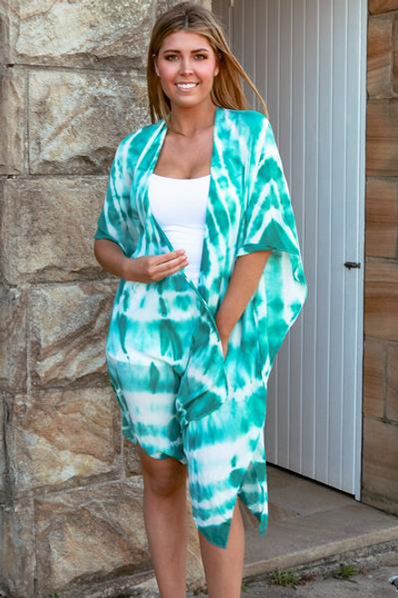 Aqua Tie Dye Cover Up