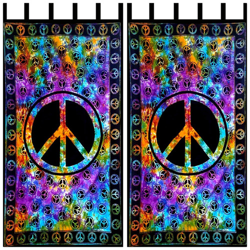 Pair of Peace Tie Dye Curtains
